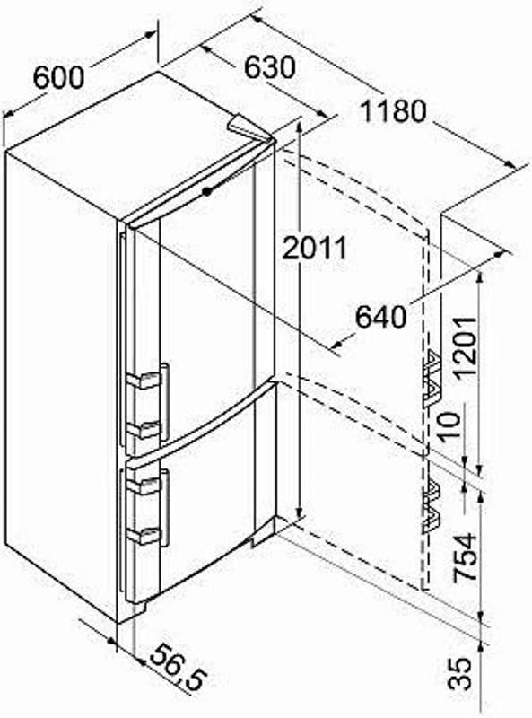 купить Двухкамерный холодильник Liebherr CBN 3913 Украина фото 2