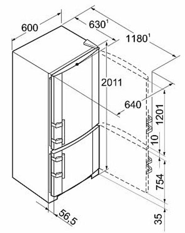 купить Двухкамерный холодильник Liebherr CBNPbs 3756 Украина фото 3