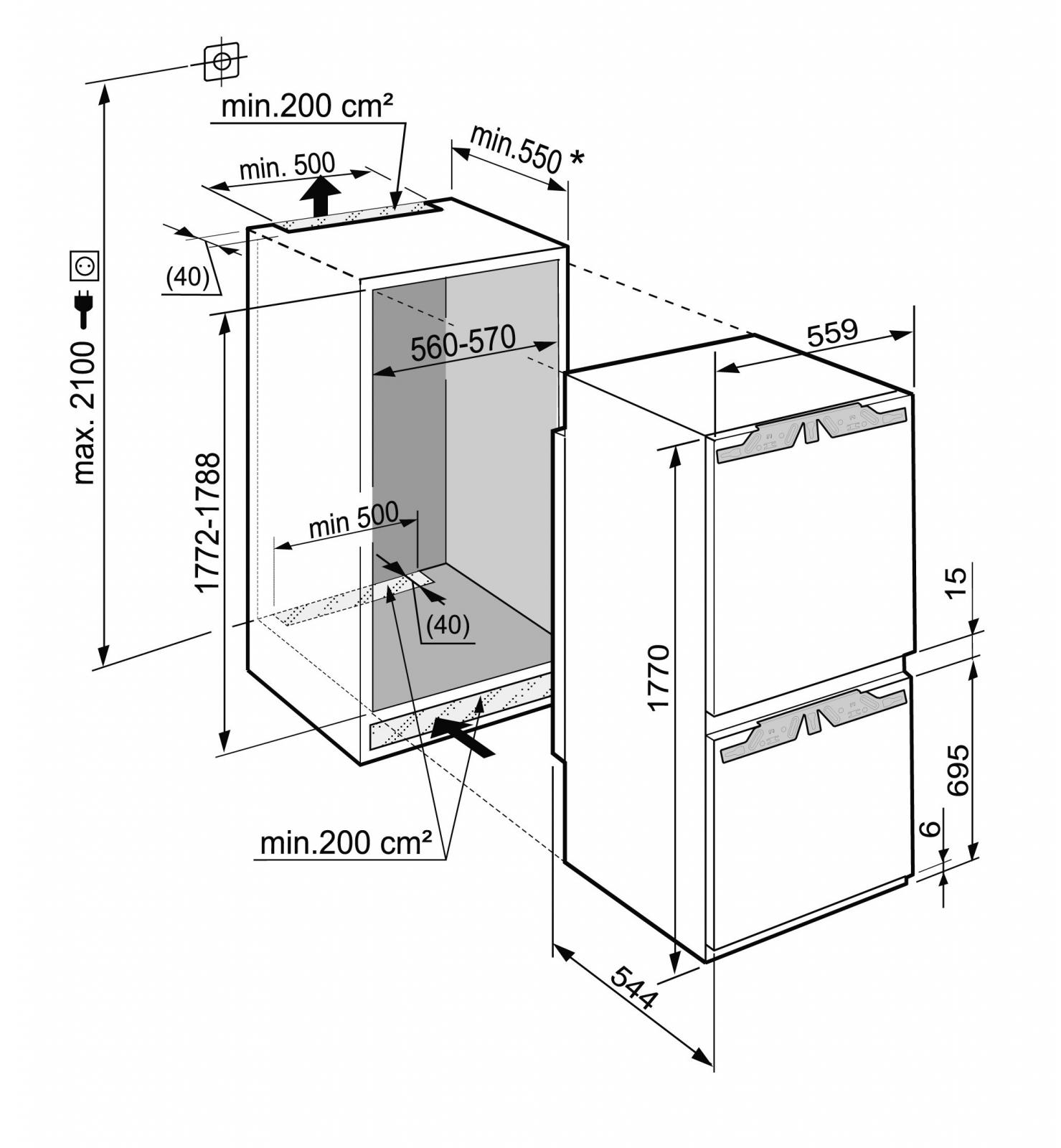 купить Встраиваемый двухкамерный холодильник Liebherr ICBN 3324 Украина фото 1