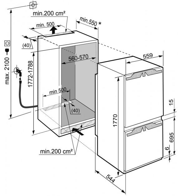 купить Встраиваемый двухкамерный холодильник Liebherr ICBN 3366 21 Украина фото 9