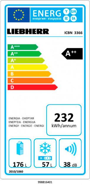купить Встраиваемый двухкамерный холодильник Liebherr ICBN 3366 21 Украина фото 10