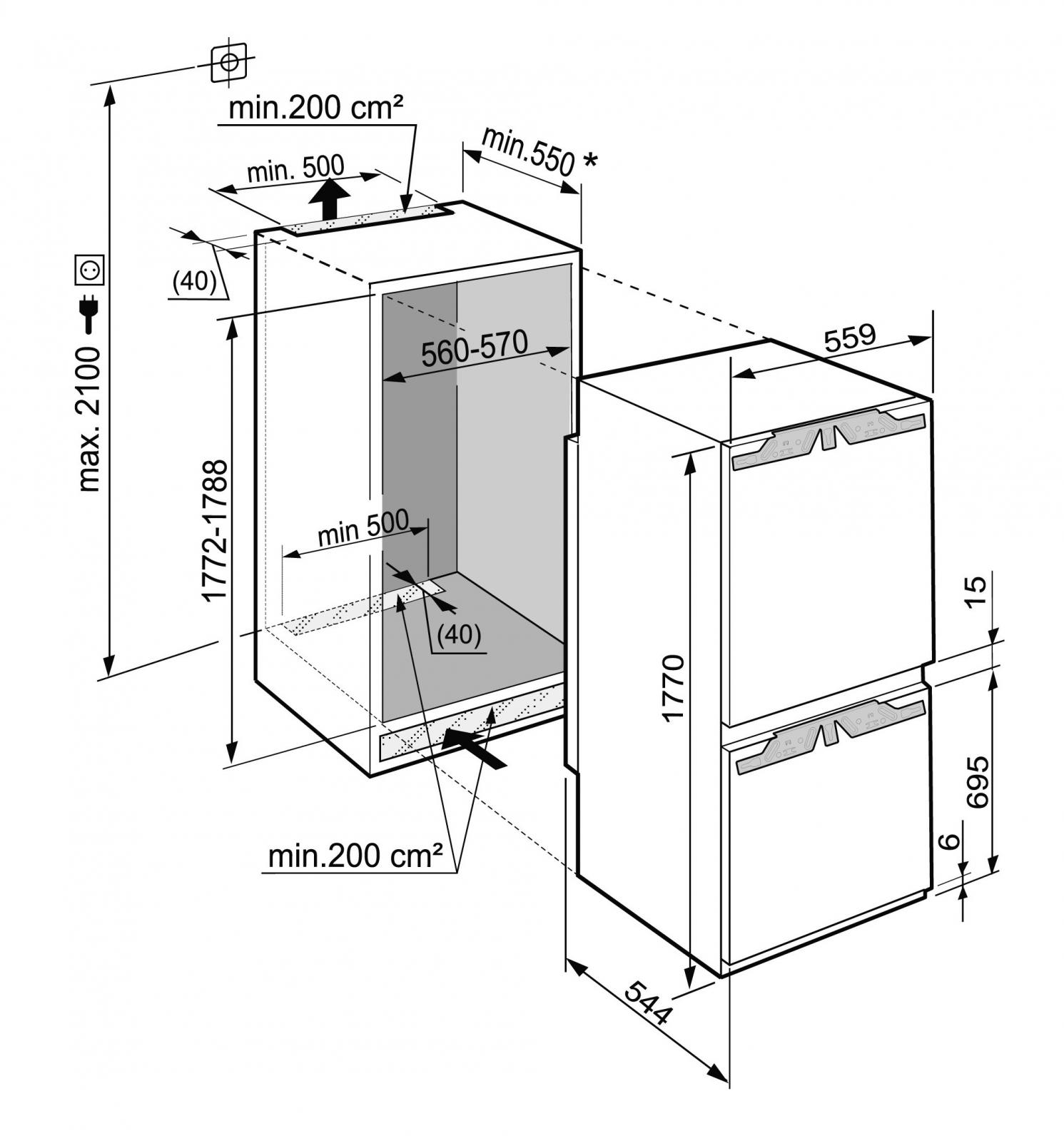 купить Встраиваемый двухкамерный холодильник Liebherr ICBN 3376 Украина фото 9