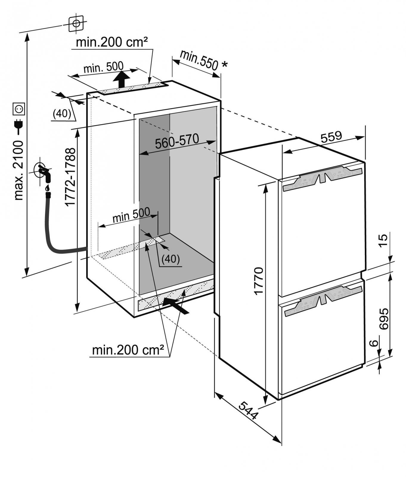купить Встраиваемый двухкамерный холодильник Liebherr ICBN 3386 Украина фото 9