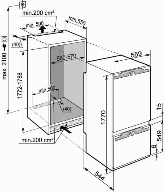 купить Встраиваемый двухкамерный холодильник Liebherr ICBP 3256 Украина фото 1