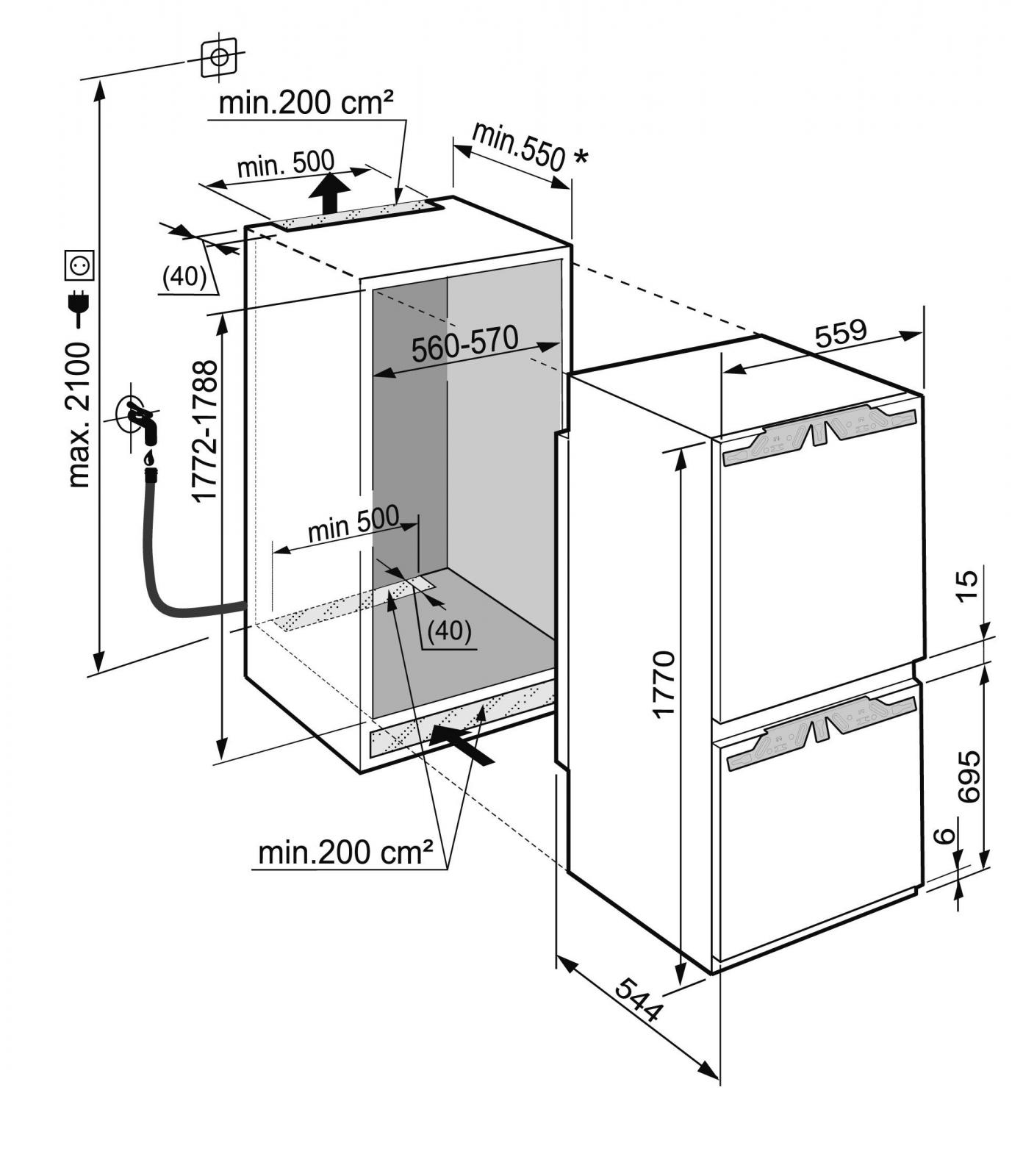 купить Встраиваемый двухкамерный холодильник Liebherr ICN 3376 Украина фото 8