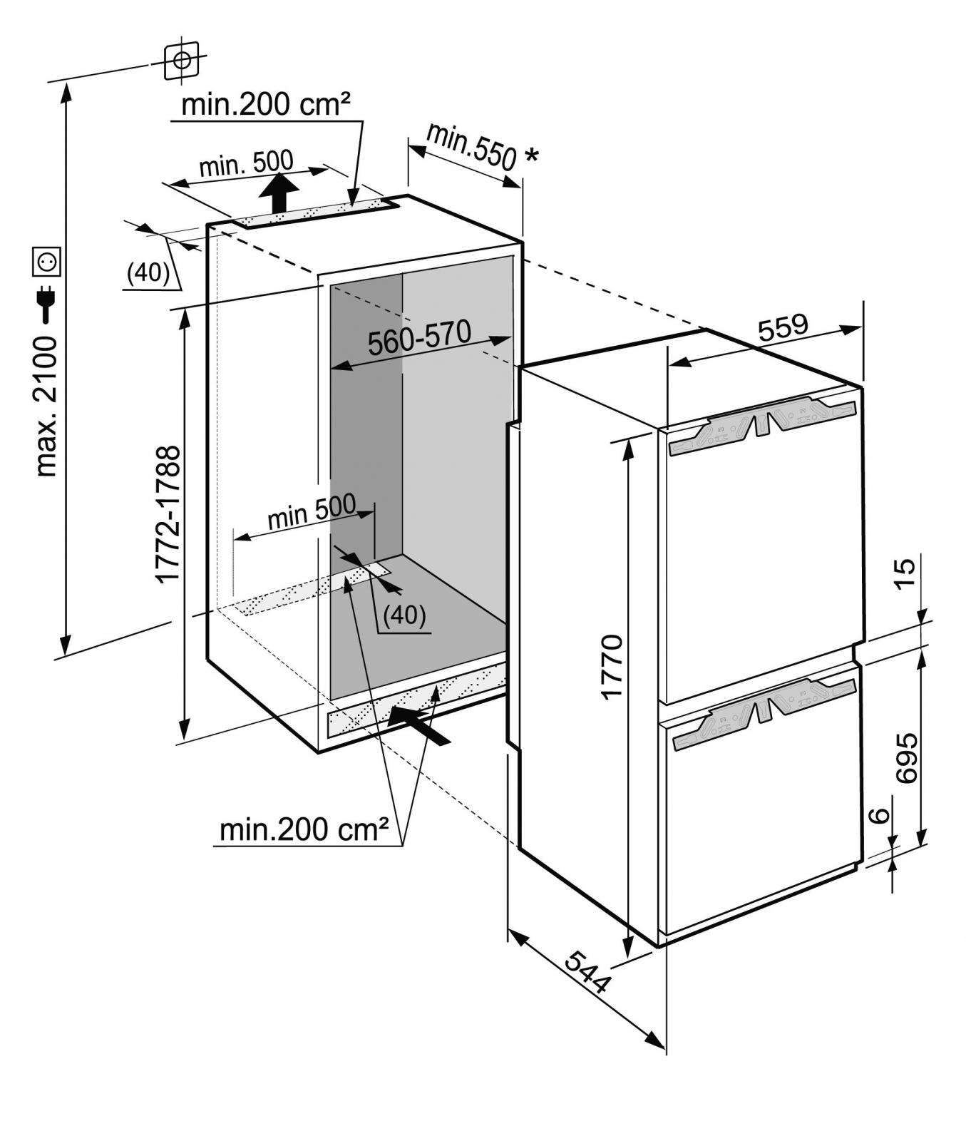 купить Встраиваемый двухкамерный холодильник Liebherr ICN 3386 Украина фото 9