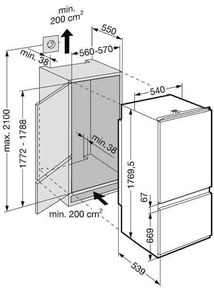 купить Встраиваемый двухкамерный холодильник Liebherr ICS 3314 Украина фото 2