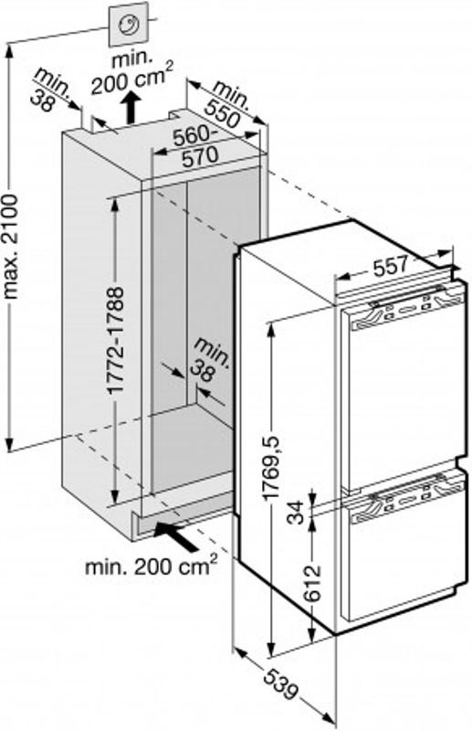 купить Встраиваемый двухкамерный холодильник Liebherr IKV 3214 Украина фото 4