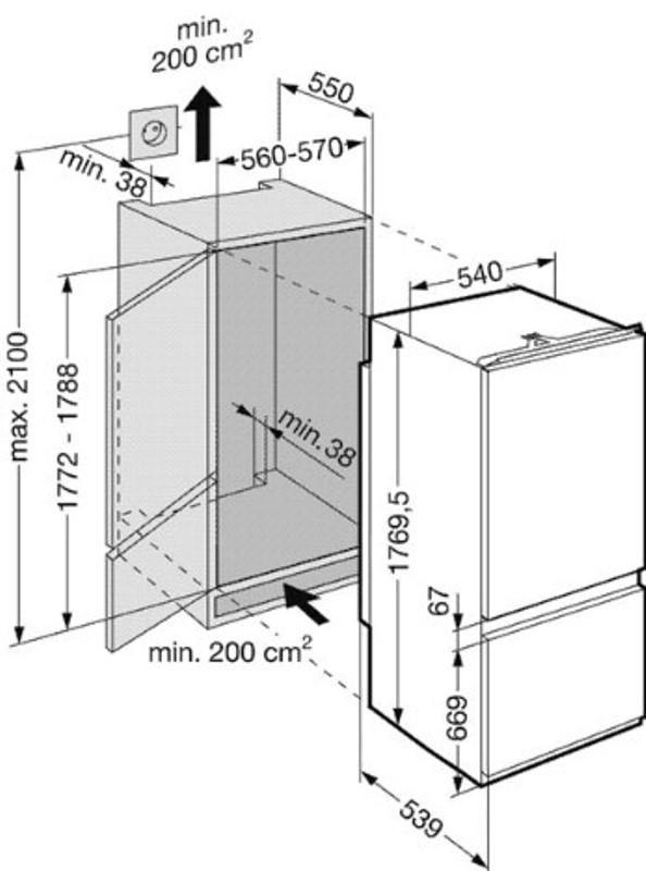 купить Встраиваемый двухкамерный комбинированный холодильник Liebherr ICUNS 3013 Украина фото 1