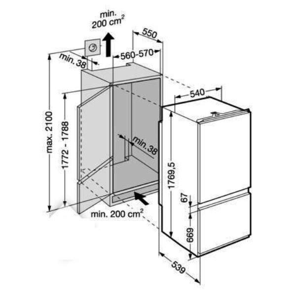 купить Встраиваемый двухкамерный комбинированный холодильник Liebherr ICUNS 3023 Украина фото 1