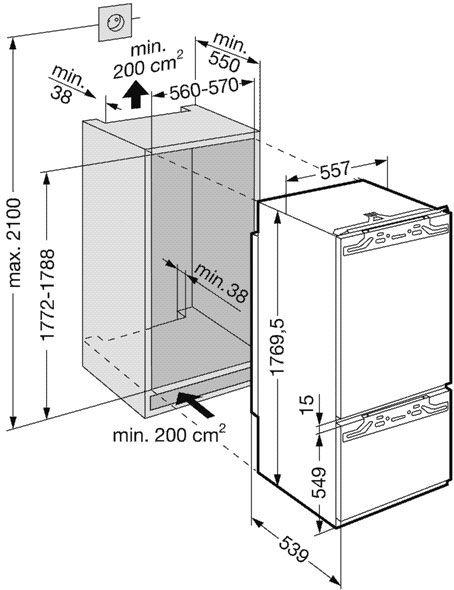 купить Встраиваемый комбинированный двухкамерный холодильник Liebherr ICB 3166 Украина фото 2