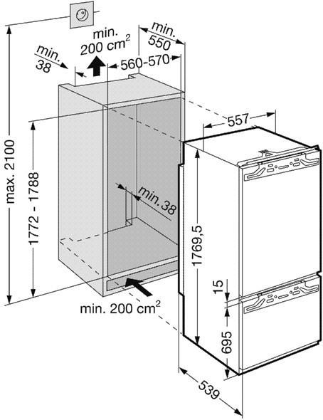 купить Встраиваемый комбинированный двухкамерный холодильник Liebherr ICBN 3056 Украина фото 3
