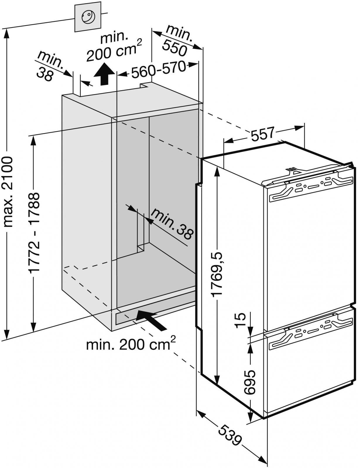 купить Встраиваемый комбинированный двухкамерный холодильник Liebherr ICN 3056 Украина фото 2