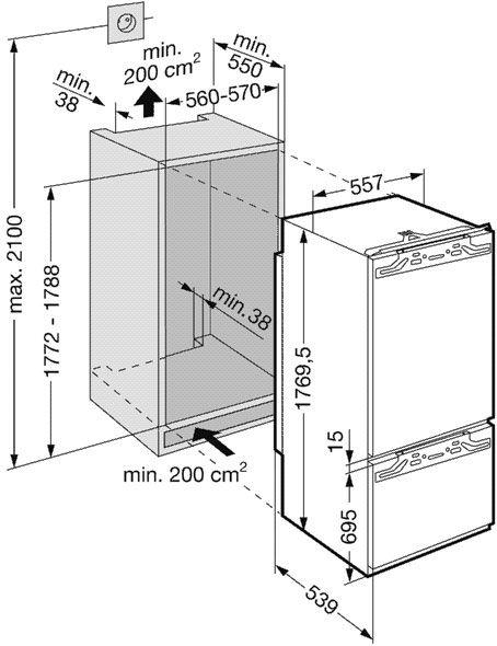 купить Встраиваемый комбинированный двухкамерный холодильник Liebherr ICN 3066 Украина фото 1