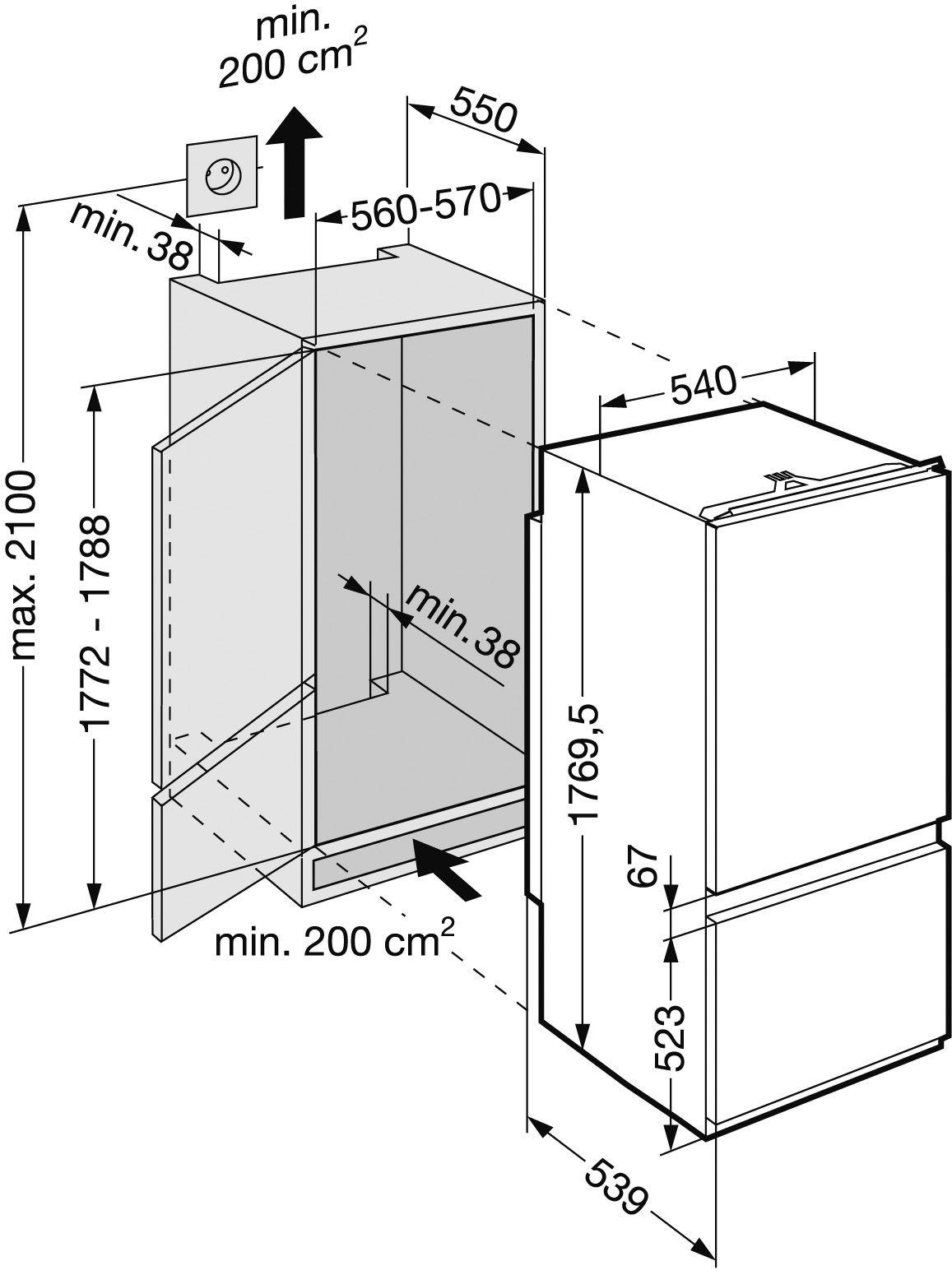 купить Встраиваемый комбинированный двухкамерный холодильник Liebherr ICS 3113 Украина фото 2