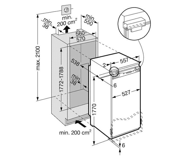 купить Встраиваемый комбинированный двухкамерный холодильник Liebherr IK 3414 Украина фото 3