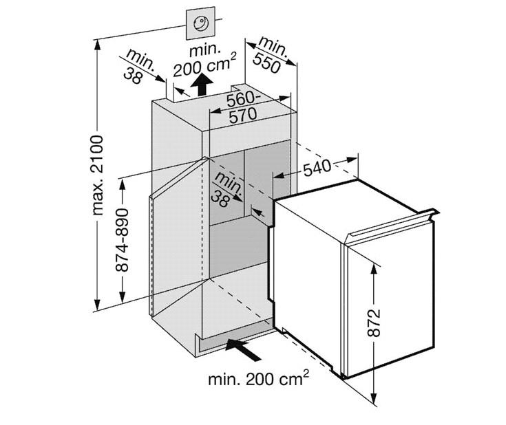 купить Встраиваемый комбинированный двухкамерный холодильник Liebherr IKS 1554 Украина фото 1