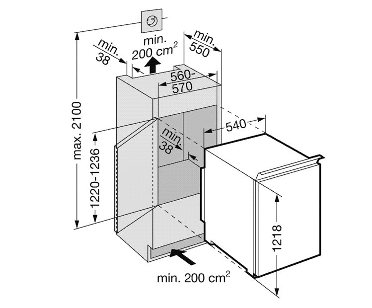 купить Встраиваемый комбинированный двухкамерный холодильник Liebherr IKS 2254 Украина фото 1