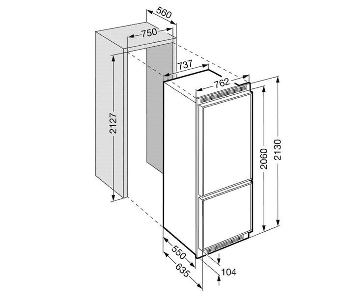 купить Встраиваемый комбинированный двухкамерный холодильник Liebherr KEKNV 5056 Украина фото 1