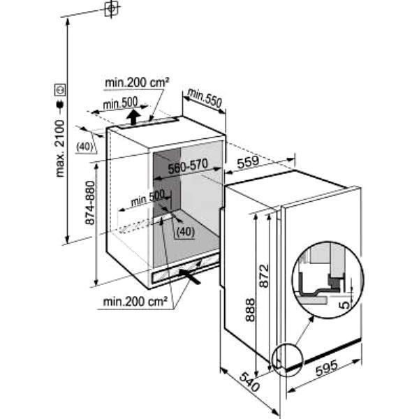 купить Встраиваемый однокамерный холодильник Liebherr EK 1614 Украина фото 2