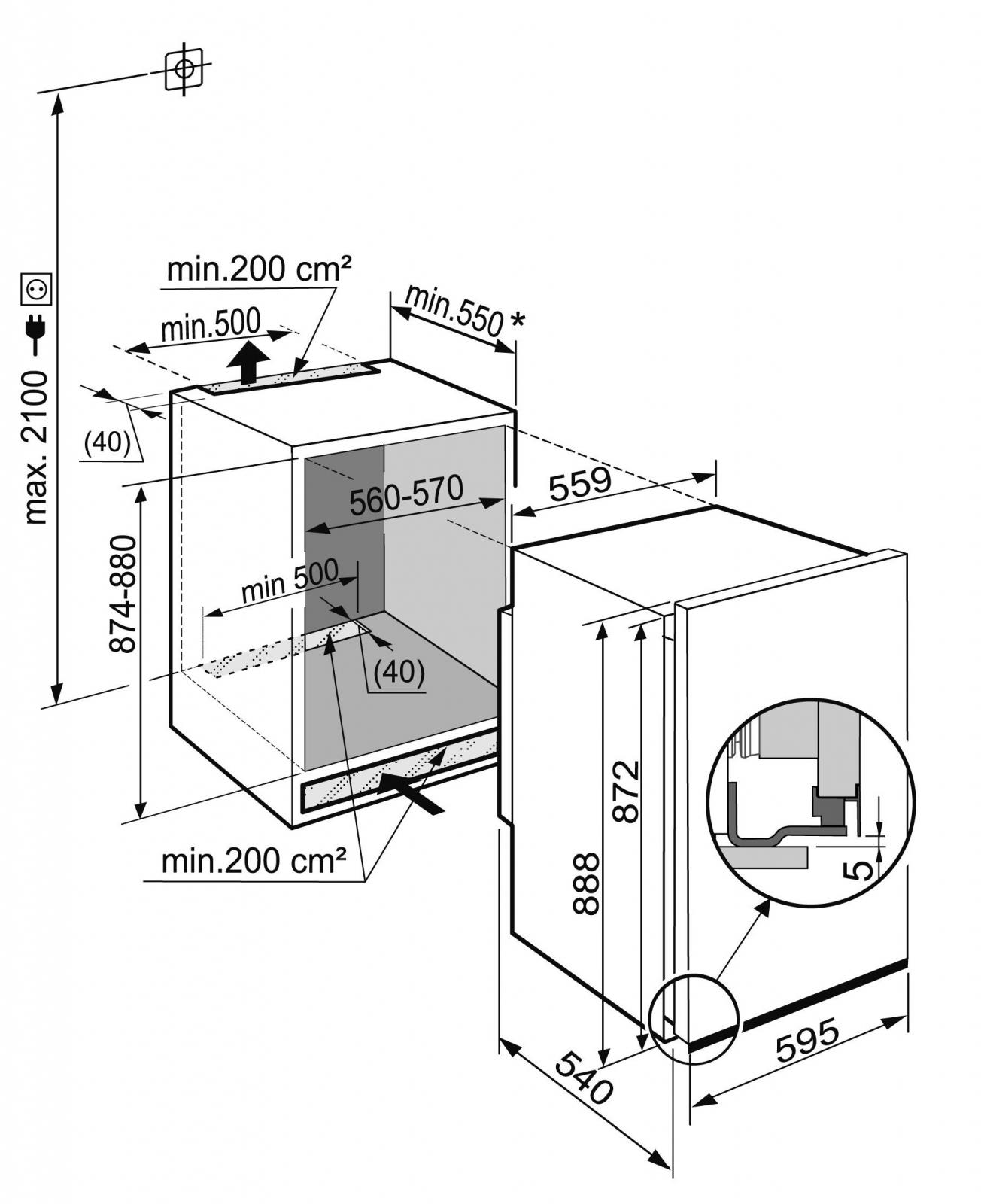 купить Встраиваемый однокамерный холодильник Liebherr EK 1620 Украина фото 5