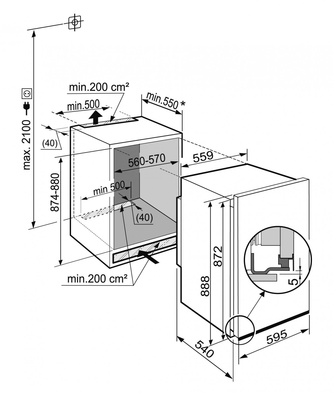 купить Встраиваемый однокамерный холодильник Liebherr EK 1624 Украина фото 4