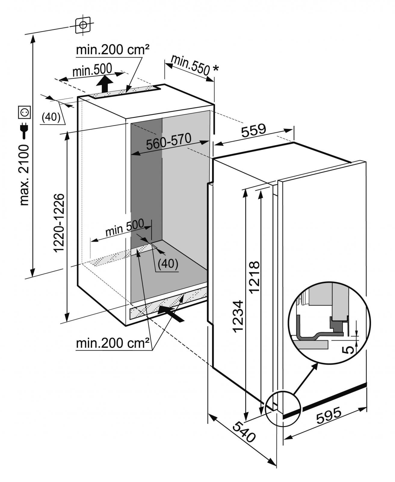 купить Встраиваемый однокамерный холодильник Liebherr EK 2324 Украина фото 5